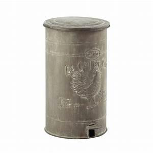 Poubelle en métal effet zinc H 46 cm LEONTINE Maisons du Monde