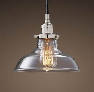 Glass barn filament pendant polished nickel light from