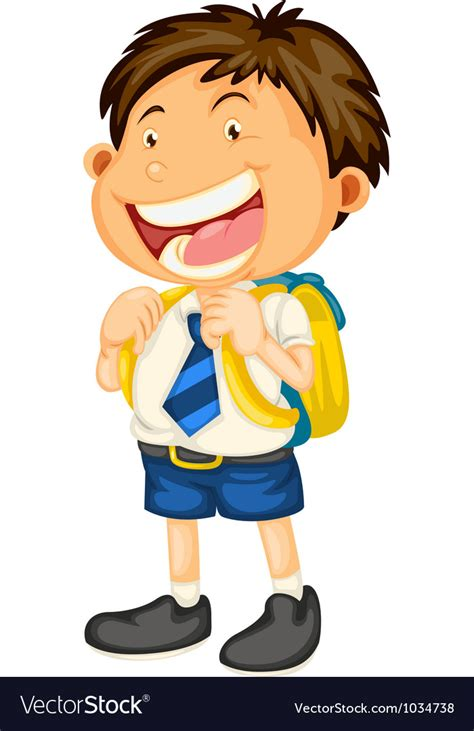a boy going to school royalty free vector