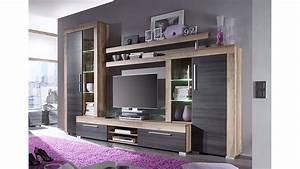Moderne Wohnzimmer Schrankwand : wohnwand boom nussbaum satin braun touchwood mit led ~ Markanthonyermac.com Haus und Dekorationen