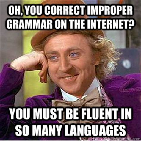 Correct Grammar Meme - oh you correct improper grammar on the internet you must be fluent in so many languages