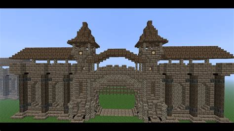 minecraft medieval wall tutorial   build  wall part  wall gate youtube