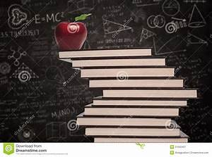 Apple Education Symbol And Stack Of Books In Class Royalty