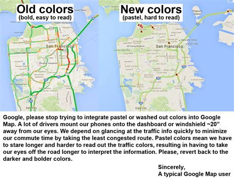 Google Map, Please Stop Using Washed Out Colors Rebrncom