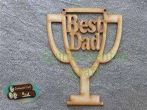 Wooden Fathers Day Best Dad Trophy Shape Craft Blank | eBay