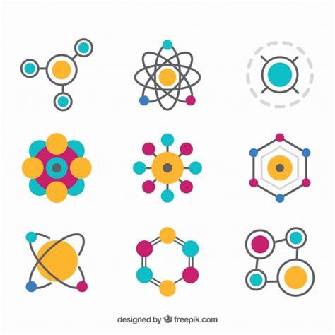 variedade colorida de moleculas planas baixar vetores gratis