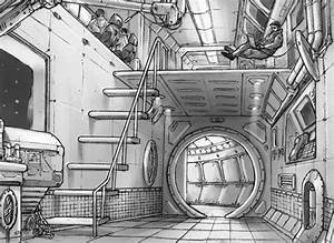 Interior, Spaceship, Drawing, Concept, Art, Sketch, Space, Shuttle, Sci, Fi