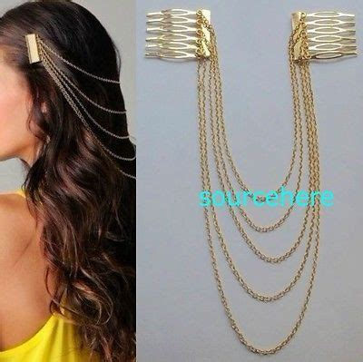 womens hair cuff chain head band pin gold tone metal