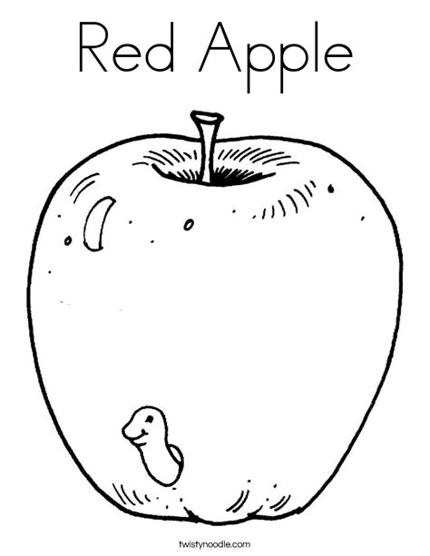 apple coloring page twisty noodle 945 | red apple 3 coloring page