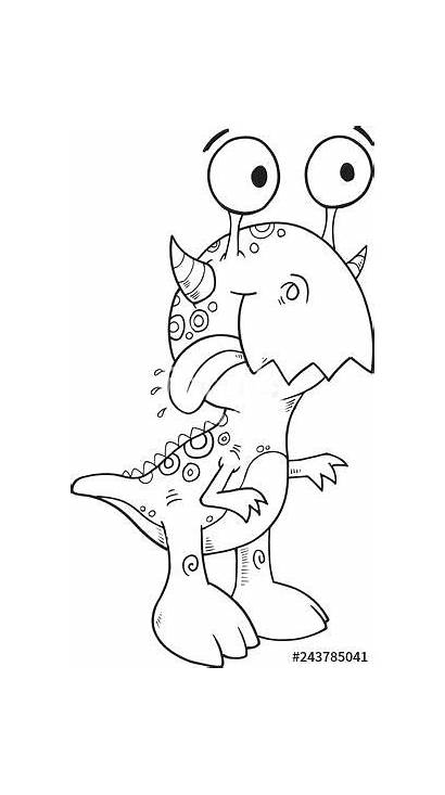 Coloring Monster Pages Silly Happy Illustration Vector