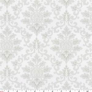 French Gray Damask Fabric by the Yard Gray Fabric