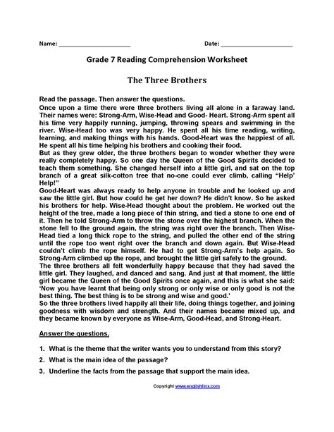 The students should first grasp the sense of the passage, fully understand the nature of the questions and then answer the questions in their own words. Reading Worksheets | Seventh Grade Reading Worksheets