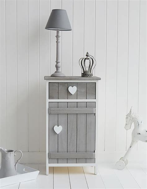 gray shabby chic furniture grey and white heart cottage bedside cabinet with cupboard and drawer shabby chic bedroom