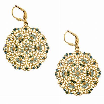 Earrings Gold Filigree Pearl Medallion Diamond Lacy