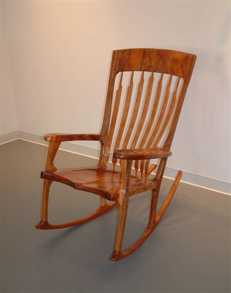 koa wood rocking chair