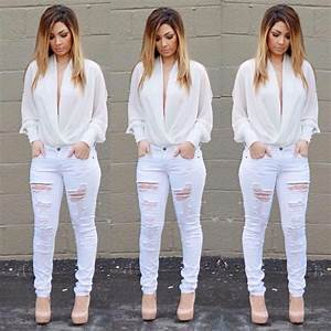 All white everything  hot outfit cute outfit party outfit cute jeans bodysuit  cute top ...