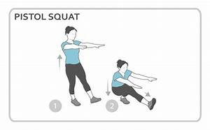 Pistol Squat Exercise Diagram  Lower Body  Personal Fitness Workout