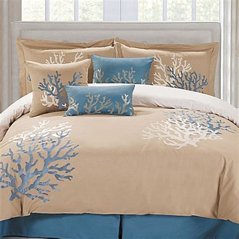 Panama Jack Coral Seas Comforter Set in Taupe/Blue   Bed