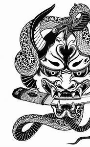Demon Japonais Dessin : snake on hannnya mask tatoo pinterest tatouage tatouage japonaise et tatoo ~ Maxctalentgroup.com Avis de Voitures