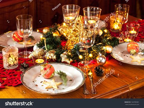christmas eve dinner party table setting stock photo