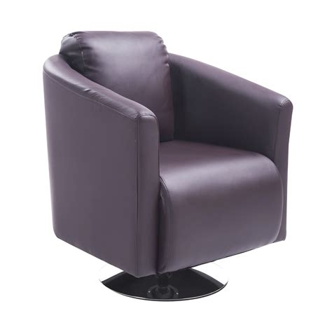 homcom pu leather tub barrel club arm swivel chair