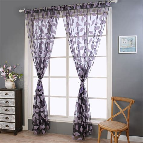 Scarf Draping Styles - 5 styles floral leaf tulle window curtain door voile drape