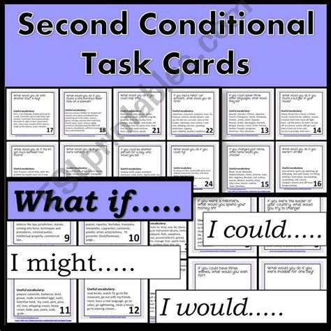 esl english powerpoints  conditional task cards