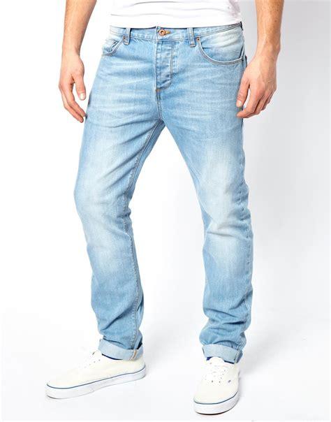 light jeans mens asos slim jeans in light wash in blue for men lyst