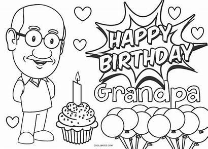 Grandpa Coloring Birthday Happy Printable Card Sheet