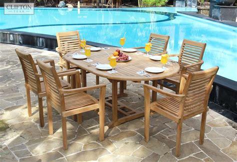 roundoval extending solid teak garden table casa bella