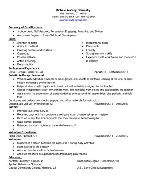 Michele Audrey Shumsky  Childcare Resume  Linked In. Sql Server Resume. Resume Career Objective Examples. Pay To Write Resume. Resume Of It Director. Resume For Stay At Home Mom. Difference Between Resume And Curriculum Vitae. Qa Analyst Resume. Cool Resume