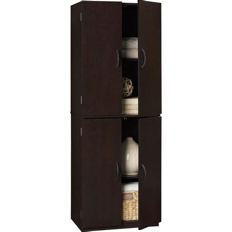 Tall Kitchen Storage Cabinet Wood Shelves Cupboard Food