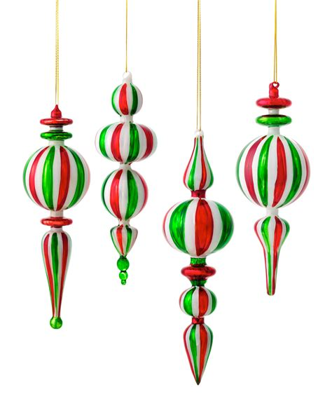assorted peppermint finial christmas ornaments treetopia