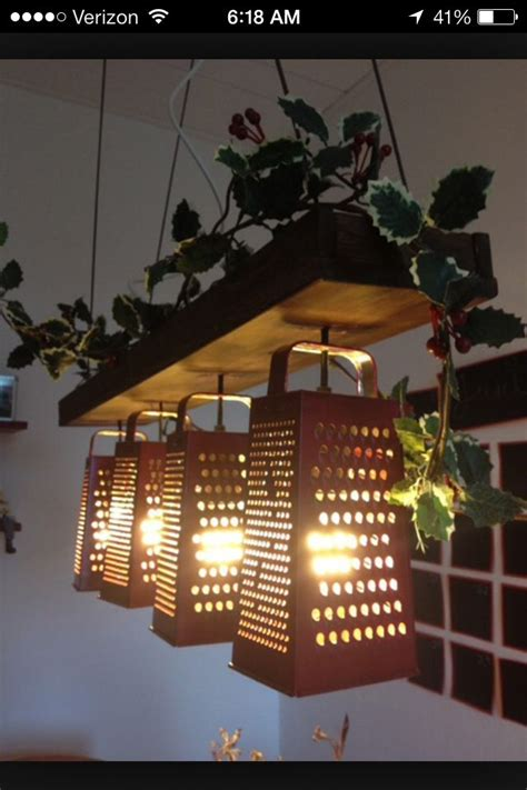 Kitchen Ideas For Decorating - cheese grater kitchen light fixture vintage rustic home decor pinterest kitchen light