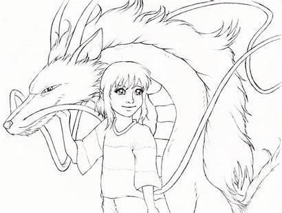 Spirited Away Haku Coloring Sketch Dragon Anime