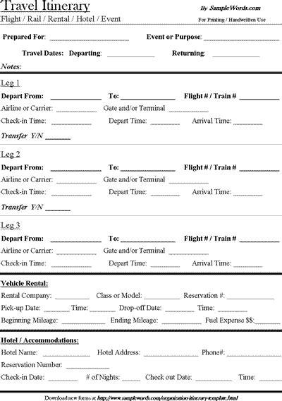 travel itinerary template microsoft word