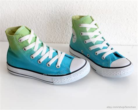 New Pair Spring Green To Turquoise Dip Dye Converse All