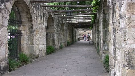 of arch walkway of the alamo shrine in san antonio