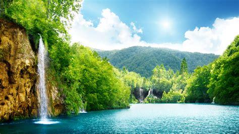 瀑布,海,湖,深林,树木,天空,云,风景电脑桌面壁纸-风景壁纸-壁纸下载-彼岸桌面