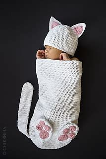 ravelry cat baby cocoon hat bootie set pattern  chi krneta