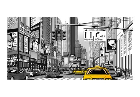 papier peint pas cher bd taxis jaunes 224 new york architecture ville et architecture