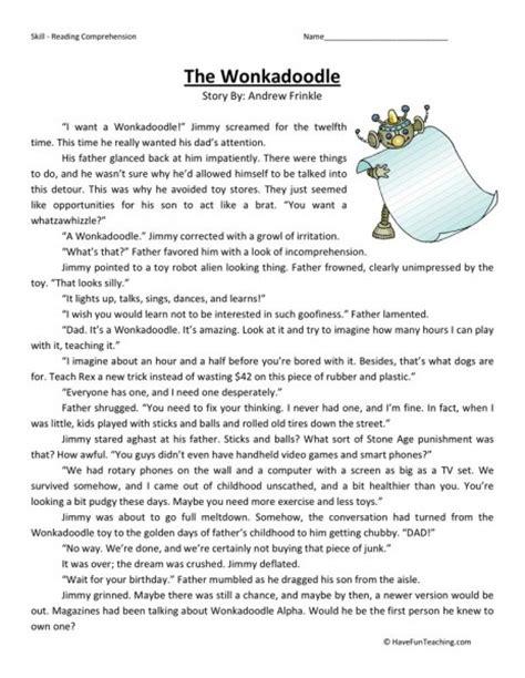 Reading Comprehension Worksheet  The Wonkadoodle