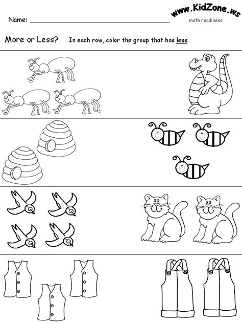 kindergarten math worksheets less and more how to teach more and less math kindergarten and worksheets