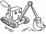 Digger Coloring Tractor Pages Cartoon Drawing Little Excavator Backhoe Colouring Print Template Cute Preschool Templates Construction Machines Dirt sketch template