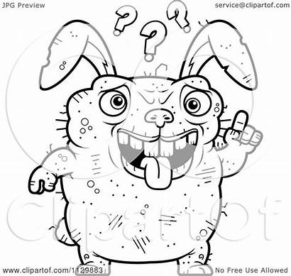 Ugly Rabbit Confused Coloring Cartoon Clipart Outlined