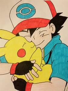 Ash and Pikachu hug by pyroteddy123 on DeviantArt