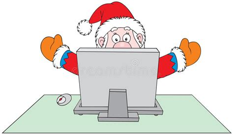 Santa Claus With Computer Stock Vector. Image Of December
