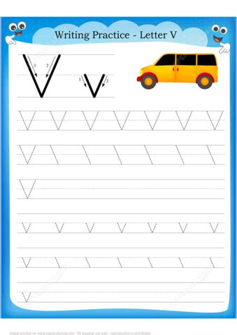 letter    van handwriting practice worksheet