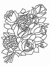 Coloring Pages Flower Roses Flowers Rose Bouquet Bunch Sketches Drawing Drawings Printable Getdrawings Pencil Bouquets Sketch Clipartqueen Line sketch template