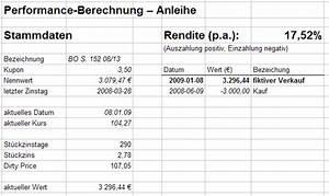 Rendite Berechnen Anleihe : performance berechnung aktien b rse zertifikate wirtschaft nachrichten ~ Themetempest.com Abrechnung